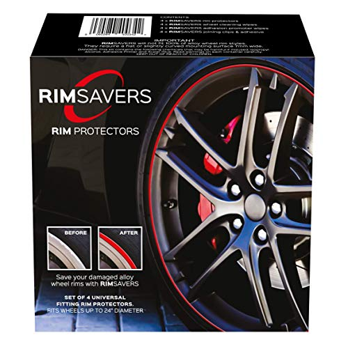 RimSavers RimBladesUSA Set of 4 Rim Protectors - Black | Alloy Wheel Protection | The Original Rim Protectors | Easy to Install