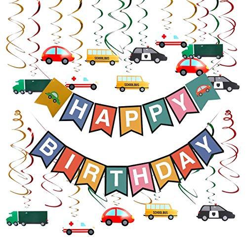 HANGNUO Transport Autos Lastwagen Bus Fahrzeug Hängende Strudel-Dekoration Cars Theme Alles Gute zum Geburtstag Banner Girlande für Transportfahrzeug-Thema-Geburtstagsfeier  Partyzubehör