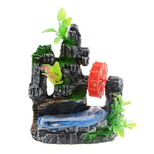 Uotyle Aquarium Berg Ornamente Harz Dekorative Steine Stein Rotes Wasserrad Bogenbrücke Naturgetreue künstliche Pflanzen Gras Landschaftsdekor für kleine Fischgarnelen zum Schwimmen Verstecken