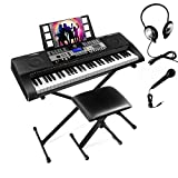 61 Touch Function Keys Portable Electronic Keyboard Piano For Beginner, Music Keyboard kit with Headphones, Microphone, Piano Stand and Stool,Full Size Keys/LCD Screen for Kids,Adults.