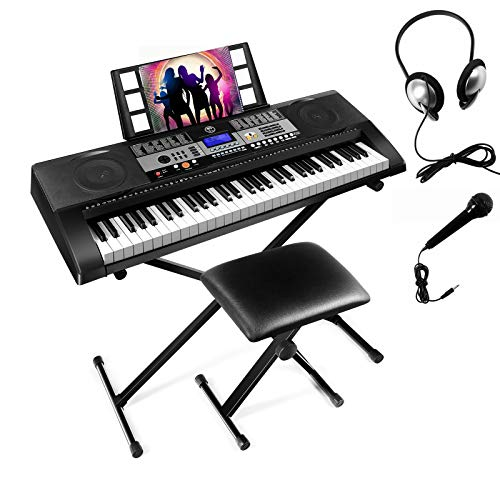61 Touch Sensitive Keys Portable Electronic Keyboard Piano For Beginner, Music Keyboard kit with Headphones, Microphone, Piano Stand and Stool,Full Size Keys/LCD Screen for Kids,Adults.