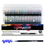48 Color Super Markers Watercolor Soft Flexible Brush Tip Pens Set - Fine & Broad Lines, Vibrant Colors - Children & Adult Coloring Books, Manga, Comic, Calligraphy, Art