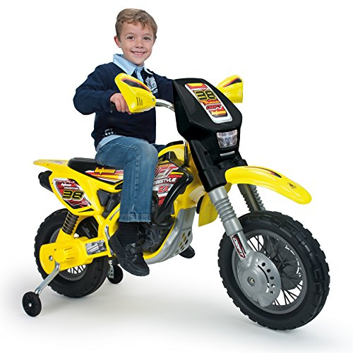 INJUSA- Moto Cross Thunder MAX VX de 12V con Ruedines, Color Amarillo...