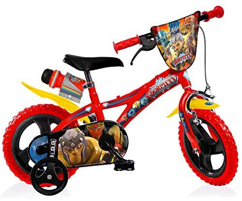 Gormiti kinderfiets jongens 12 inch met voorwielrem op het stuur en achter vaste fiets, steunwielen rood