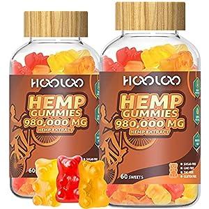 (2 Pack)Hemp Gummies, HOOLOO 980,000 high Potency Fruity Hemp Gummy Bears for Relaxing, Stress, Anxiety, Better Sleep & Calm Mood, Natural Hemp Extract Gummies, Made in USA