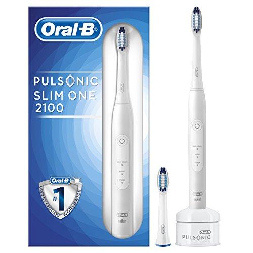 Braun Oral-B 4210201198512Oral-B Pulsonic Slim One 2100hx3212, con temporizador y 2cabezales, White,