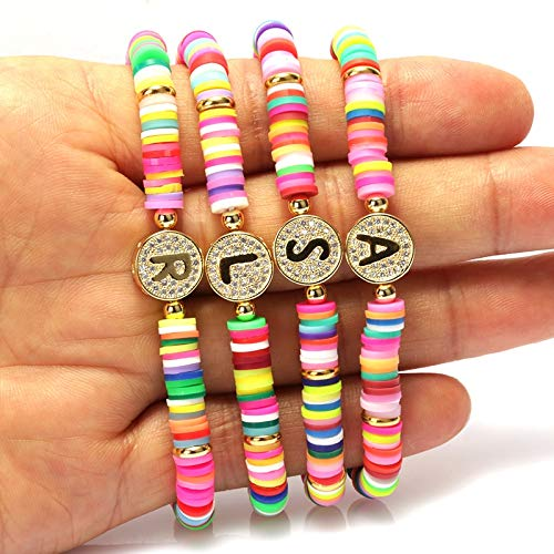 Bohemia Gypsy Gold Initial 26 Alphabet Letter Name Charm Coloful Rainbow Silicone Plastic Beaded Bracelets For Women Man 2020-P