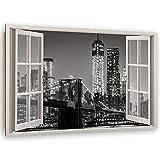 Feeby Cuadro Poster NYC Decoración de la Pared con 3D Efecto Blanco y Negro 90x60 cm