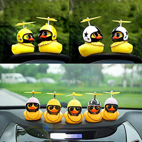 wonuu Rubber Duck Toy Car Ornaments Yellow Duck Car Dashboard Decorations Cool Glasses Duck with Propeller Helmet