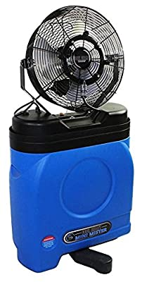 "Ventamatic CDMP 1420BLU 14"" Premium Misting Fan, 20 Gal Cooler, Blue/Black"