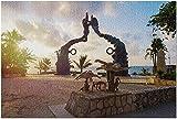 ACCYT HD Playa del Carmen México - Parque Fundadores at Dawn 9036317 (52*38 cm Premium 500 Piece Jigsaw Puzzle Made in USA!)