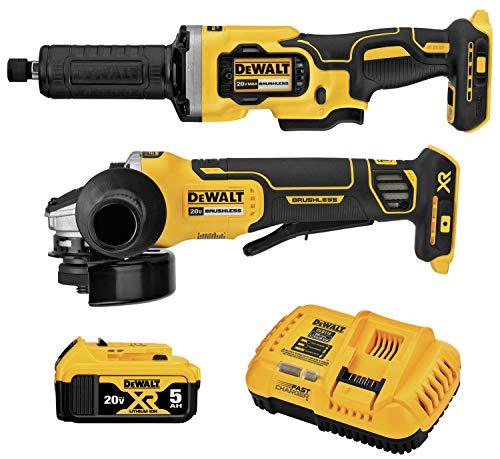 DEWALT 20V MAX XR Angle Grinder Kit, 4.5-Inch Paddle Switch Small Angle Grinder and 1-1/2-Inch Die Grinder, 2-Tool (DCK203P1)