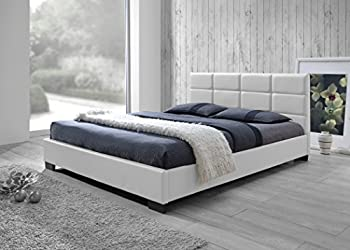 Baxton Studio Vivaldi Modern and Contemporary White Faux Leather Padded Platform Base Queen Size Bed Frame