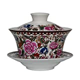 Gaiwan 6.7oz Colorful Ceramics Teacups Flower Tureen Sancai Cover Bowl Lip Cup Saucer Tea Coffee Set Home Office (200ml Red peony)