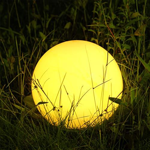 Albrillo RGB Luz Solar de Jardín - Iluminación Exterior LED de Globo de 25cm, Lámpara Esfera con 8 Colores Ajustables, IP68 Impermeable, Carga por Solar y USB, Luz Solar para Césped, Piscina, Patio