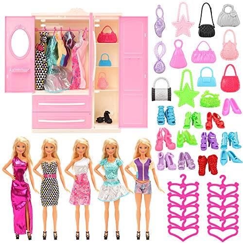 Miunana 36 Pezzi per 11.5 Pollici / 28 - 30 CM Bambola = 1 Armadio di Rosa + 5 Vestiti + 10 PCS Scarpe + 10 PCS Grucce + 10 Borse