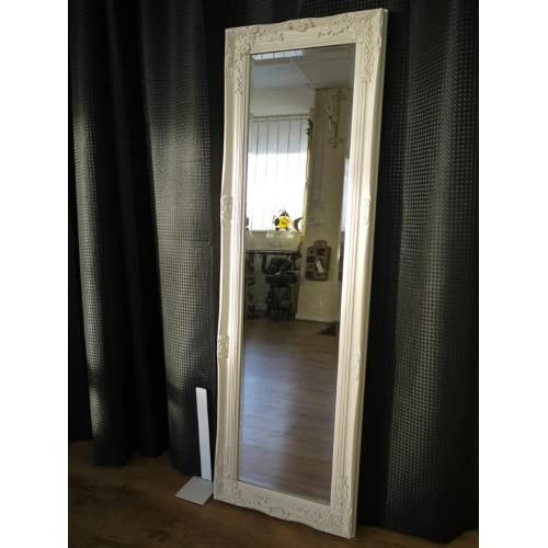 ff0c4d49278 Beautifully Ornate Warm Cream Vintage Style Floor Standing Dressing Mirror-  Overall Size  52 inches