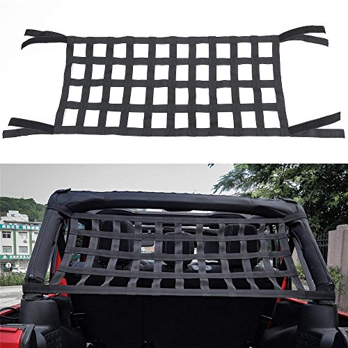 Bosmutus Rear Top Cargo Net for J-eep Wrangler,Car Roof Hammock Car Bed Rest J-eep Wrangler Accessories JK YJ TJ JL 1996-2018 Roof Storage Roll Cage Bar Restraint