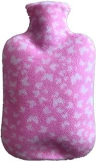 湯たんぽシングルフリースarge布カバー水で満たされた暖かい水袋フランネルバッグピンク2000ml