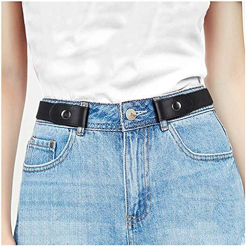 JasGood Schnallenfreier Stretch Damen Gürtel für Jeans Hose, Plus Size Elastischer Unsichtbare Gürtel ohne Schnalle für Damen bis zu 120cm, Schwarz, Hosengrößen 55cm-90cm