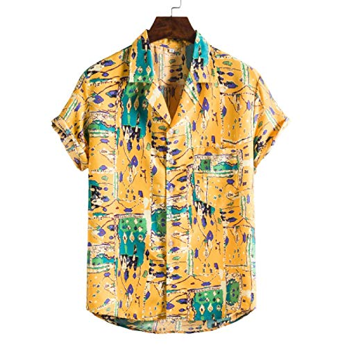 Camisas de Campo para Hombre Ideales para Pesca, Tiro, Caza, Verano, Europeo y Americano, Camisa de Manga Corta con Estampado Delgado e Informal 3XL