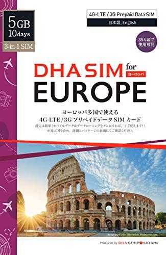 DHA SIM for Europe Prepaid 4G/LTE Data SIM Card (35 Countries) 10...