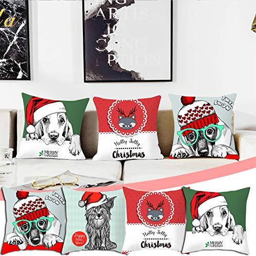 Watopi 4PCS Christmas Home Pillowcase Xmas Santa Claus Snowman Reindeer Washable Durable Cushion Cover Home Car Decors Gifts