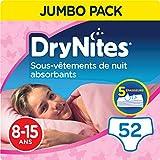 DryNites, Sous-vêtements de nuit absorbants jetables, Pour filles, Taille: 8-15 ans (27-57 kg), 52 culottes (4 x 13 unités), Huggies