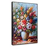 Musemailer Framed Canvas Prints Wall Art 12'x16' Flowers in Vase Oil Painting Colorful Vibrant Flower Drawing Canvas Printed Floral Poster Artwork for Wall Decoration Living Room Bedroom Hallway