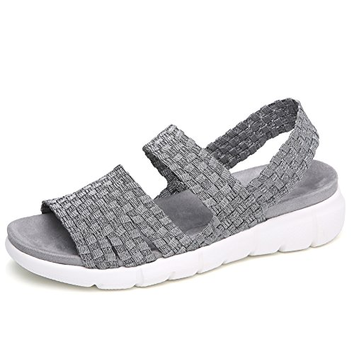 YKH YL802qiangse37 Womens Open Toe Woven Flat Slingback Sandals Summer Slip On Stretchy Mary Jane Sandles Shoes Pewter 6.5 US