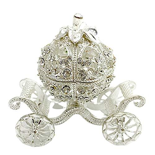 TOOGOO Caja de Almacenamiento de Joyas ArtesaníA de la Forma del Carro del Estilo de la Princesa de la Baratija de Joyas del Diamante Artificial del Metal DecoracióN del Hogar