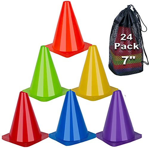 cyrico 7 Inch Training Cones, 24 Pack Soccer Cones Sports Agility Field Marker Colored Plastic Traffic Cones for Basketball Football Skating Drills - Indoor and Outdoor Games