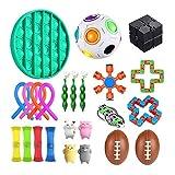 Juguetes sensoriales antiestrés para autismo TDAH, paquete de 24 juguetes de alivio del estrés, juguetes para violín para niños y adultos, bolas para aliviar el estrés, compresa de soja (A)