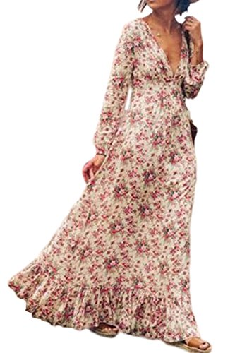 Women \'s Bohemian Floral Print Long Sleeve V Neck Long Maxi Dress Plus Size Swing Pink M