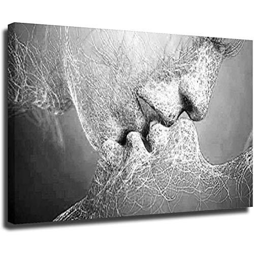 Black White Love Kiss Posters and Prints - Lienzo decorativo para sala de estar, diseño de hogar, estilo unframe-1 40 x 60 cm