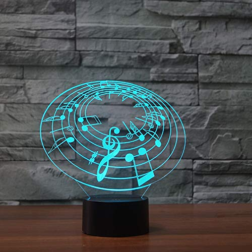 BFMBCHDJ Nota musical 3D Lámpara 7 Color Led Lámparas de noche para niños Touch Led Usb Table Lampara Lampe Baby Sleeping Nightlight Kids Lamp