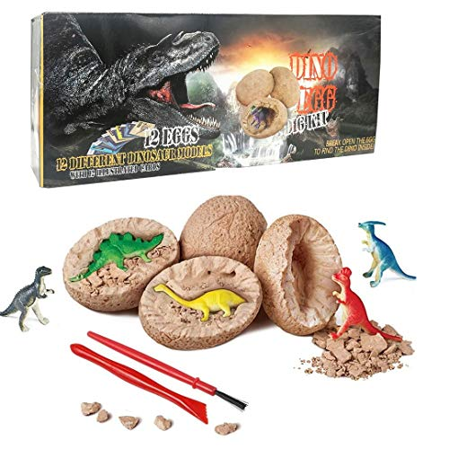 Dino Eggs Dig Kit, 12 Pack Dinosaur Eggs Excavation Science Experiments Kits for Kids 4-12, Easter Basket Stuffers, Stocking Stuffers for Kids, Dinosaur Toys for 3+ 4 5 6 7 8 9 10 Year Old Boys Girls