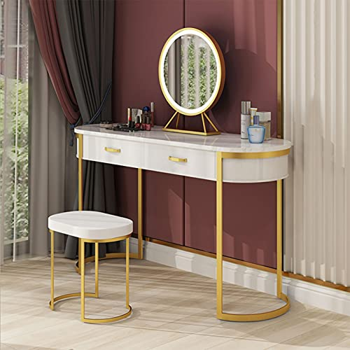 Vanity Dressing Table with LED Lighted Mirror, Makeup Desk with Cushioned Stool Drawers Set, for Bedroom, White