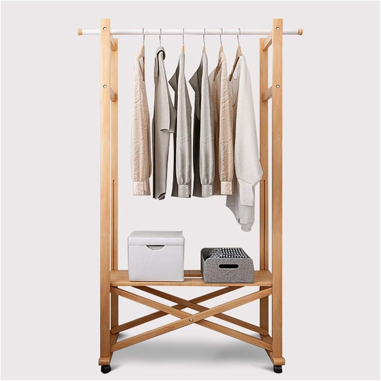 Coat Racks Simple Solid Wood Coat Rack Floor Hanger Mobile Bedroom Clothes Rack Modern Folding Wood color Floor Hanger
