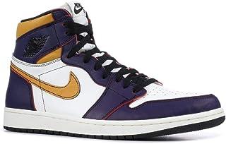 Nike Mens Air Jordan 1 High OG Defiant Lakers Court Purple/Black Leather Size