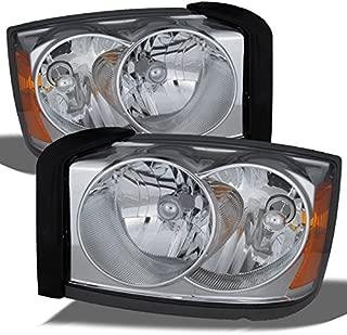 For 2005-2007 Dodge Dakota OE Replacement Chrome Bezel Headlights Driver/Passenger Head Lamps Pair New