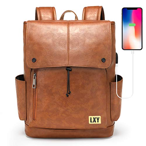 LXY Backpack for Women, Leather Backpack Purse, 15.6 Inches Laptop Bookbag with USB Charging Port, Vintage Daypack with Drawstring Closure, Brown