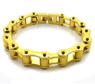 Bracciale catena moto braccialetto del motociclista in acciaio inox da uomo e da donna color oro con shopper e custodia in...