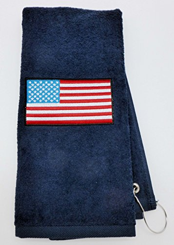 Mana Trading Custom Personalized Embroidered Golf Towel USA Flag (Navy Blue)