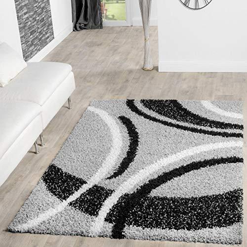 T&T Design Alfombra Shaggy Moderna Pelo Largo Diseño Vigo Gris Negro Crema Al Mejor Precio, Größe:140x200 cm