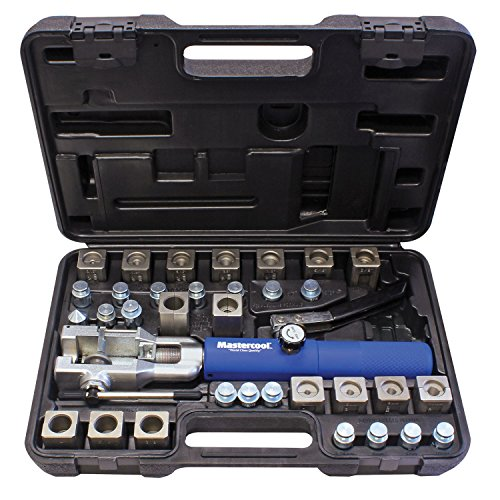 MASTERCOOL 72485-PRC Silver/Blue Universal Hydraulic Flaring Tool Set (3/8'&1/2' Transmission Cooling Line Die/Adapter Sets Plus Tube Cutter)