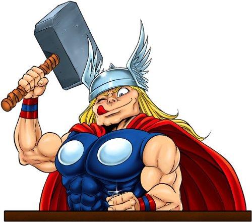 Okiwoki T-Shirt Noir Thor parodique Thor : Complètement Marteau !! (Parodie Thor)
