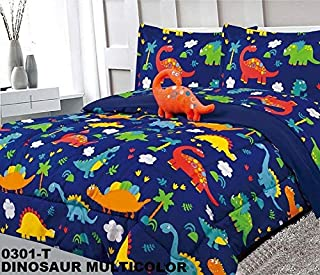 5 Piece Twin Size Kids Boys Teens Comforter Set Bed in Bag w/2 Curtain Panels, Sham & Decorative Toy Pillow, Dinosaur Print Blue Green Boys Kids Comforter Bedding Set w/Curtains,T Dinosaur
