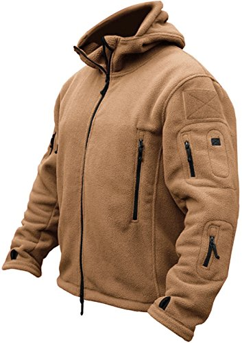 TACVASEN Herren Fleecejacke Military Outdoor Winddichte Jacke mit Kapuze- Gr. XL, Sand