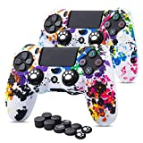 PS4 Controller Hülle x 2, 6amLifestyle Silikon Skin Case Anti-Rutsch-Etui Schutz-Hülle für PS4 / Slim/PRO Dualshock Controller x 2 (Graffiti) +FPS Pro Stick Aufsätze x 10